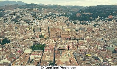 Aerial view of Catedral de Granada or Cathedral within...