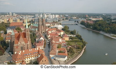 Aerial view of Cathedral Island in Wroclaw, Poland - Aerial...