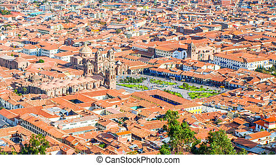 Aerial view of Cathedral on Plaza de Armas, Cusco, Peru