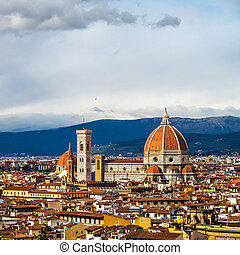 Aerial view of Cathedral Santa Maria del Fiore, Florence