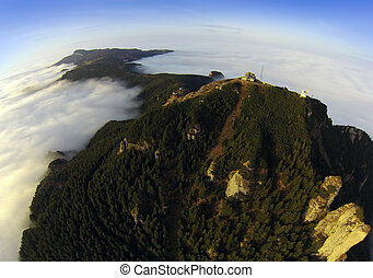aerial view of Ceahlau mountin from the drone. Romania