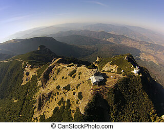aerial view of Ceahlau Toaca mountain peak from the drone. Romania