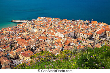 aerial view of Cefalu old town