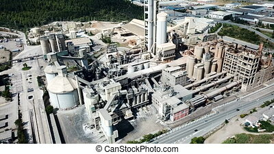 Aerial view of cement production plant. High quality 4k ...