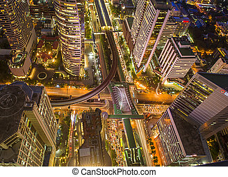 Aerial view of Central Business district, CBD of Bangkok