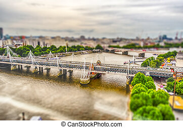 Aerial View of Central London. Tilt-shift effect applied