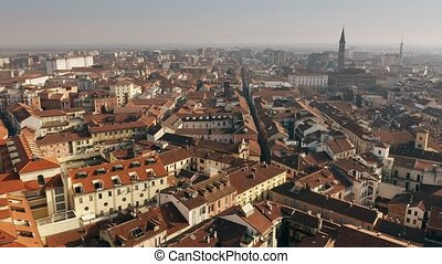 Aerial view of central part of Alessandria. Piedmont, Italy...