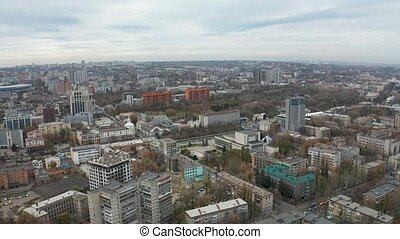 Aerial view of central part of big city. - Aerial view...