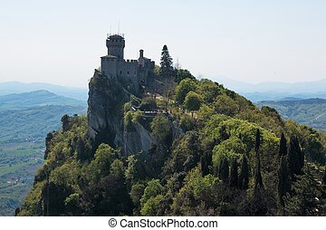Aerial view of Cesta and The Montale on the cliff edge on Mount Titano. Second Tower. Republic of San Marino inside Italy.