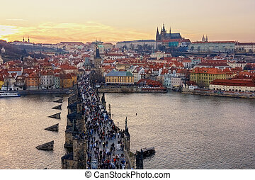 aerial view of Charles Bridge and Prague Castle, Czech Republic