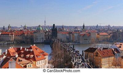Aerial view of Charles Bridge over the Vltava river, Prague