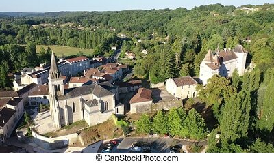 Aerial view of Chateau L'eveque commune in the Dordogne ...
