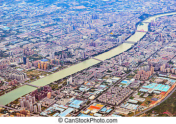 Aerial view of Chengdu district at sunset time.