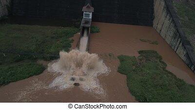 Aerial view of Chiang Rai river's dam