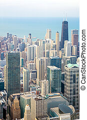 Chicago City downtown - Aerial view of Chicago City downtown