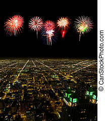 Aerial view of Chicago cityscape at night - with firework illustration