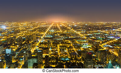 Aerial view of Chicago downtown at night