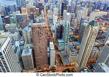 Aerial view of Chicago downtown at sunset