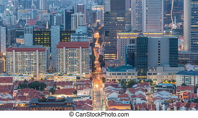 Aerial view of Chinatown and Downotwn of Singapore day to night timelapse