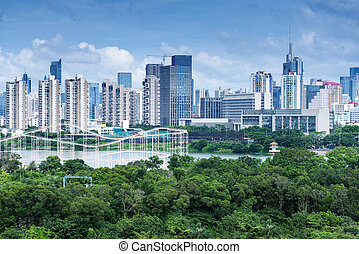 Aerial view of chinese city, shenzhen