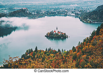 Lake Bled, Slovenia - Aerial view of church of Assumption in...