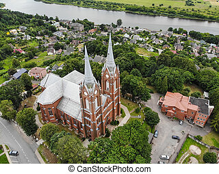 Aerial view of Church of St. George in Vilkija town, Kaunas district municipality, Lithuania