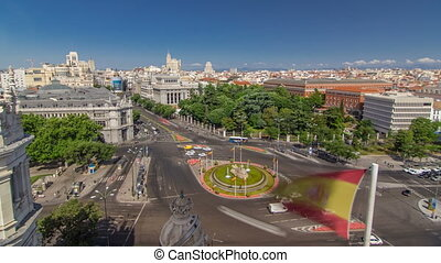 Aerial view of Cibeles fountain at Plaza de Cibeles in Madrid timelapse in a beautiful summer day, Spain