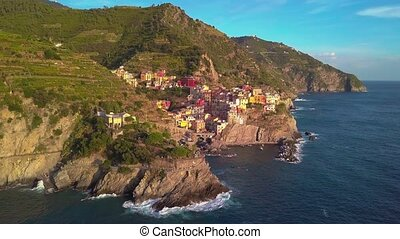 Aerial view of Cinque terre, five lands