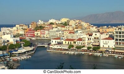 Agios Nikolaos before sunset Crete - Aerial view of city...