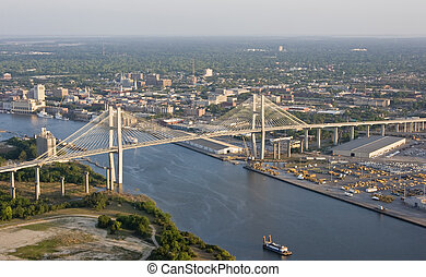aerial view of city and bridge