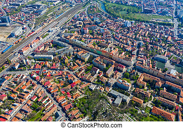 Aerial view of city buildings from a drone