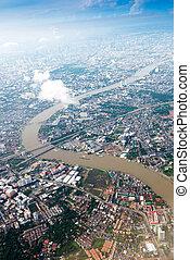 aerial view of city center