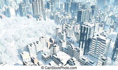 Aerial view of city downtown at snowfall winter day