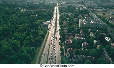 Aerial view of city highway in Warsaw, Poland - Aerial view...