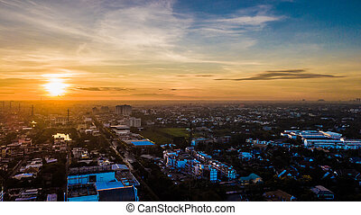 Aerial view of city in morning time