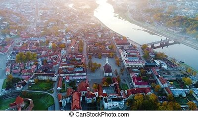 aerial view of city in the morning - aerial view of city in...
