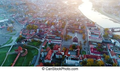 aerial view of city in the morning