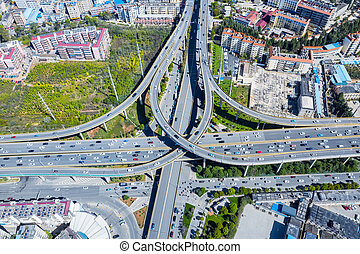 aerial view of city interchange in kunming city, yunnan ...