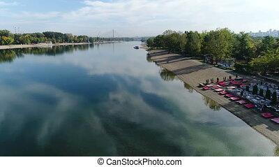 Aerial view of city lake bank