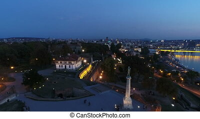 Aerial view of city monument in evening