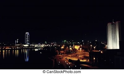 Aerial view of city night. Empty asphalt road and...