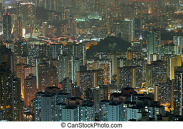 Aerial view of city night