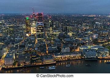 Aerial view of City of London at night