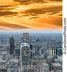 Aerial view of City of London skyline