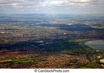 An aerial view of the city of Manchester, United Kingdom.