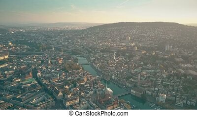 Aerial view of city of Zurich and the Limmat river, Switzerland