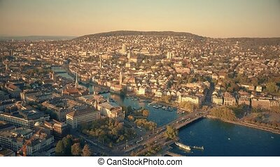 Aerial view of city of Zurich centre and the Limmat river, Switzerland