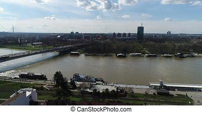 Aerial view of city skyline and river, Belgrade - Aerial...
