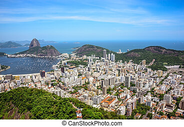 Aerial view of cityscape and the Sugarloaf mountain, Rio de Janeiro, Brazil