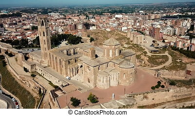 Aerial view of cityscape of Lleida and main historical ...